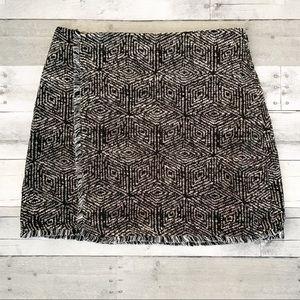 Banana Republic | Black & White Fringe Wrap Skirt